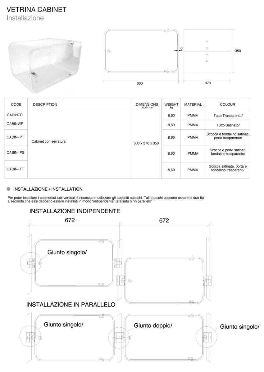 vetrina cabinet plexiglass
