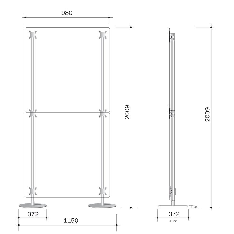 parete divisoria 100x200 con doppio pannello