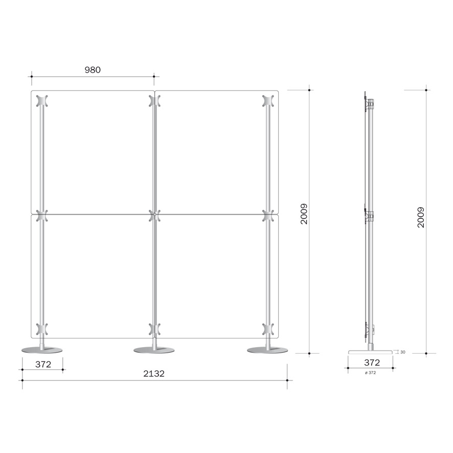 parete divisoria 200x200 costituita da 4 pannelli