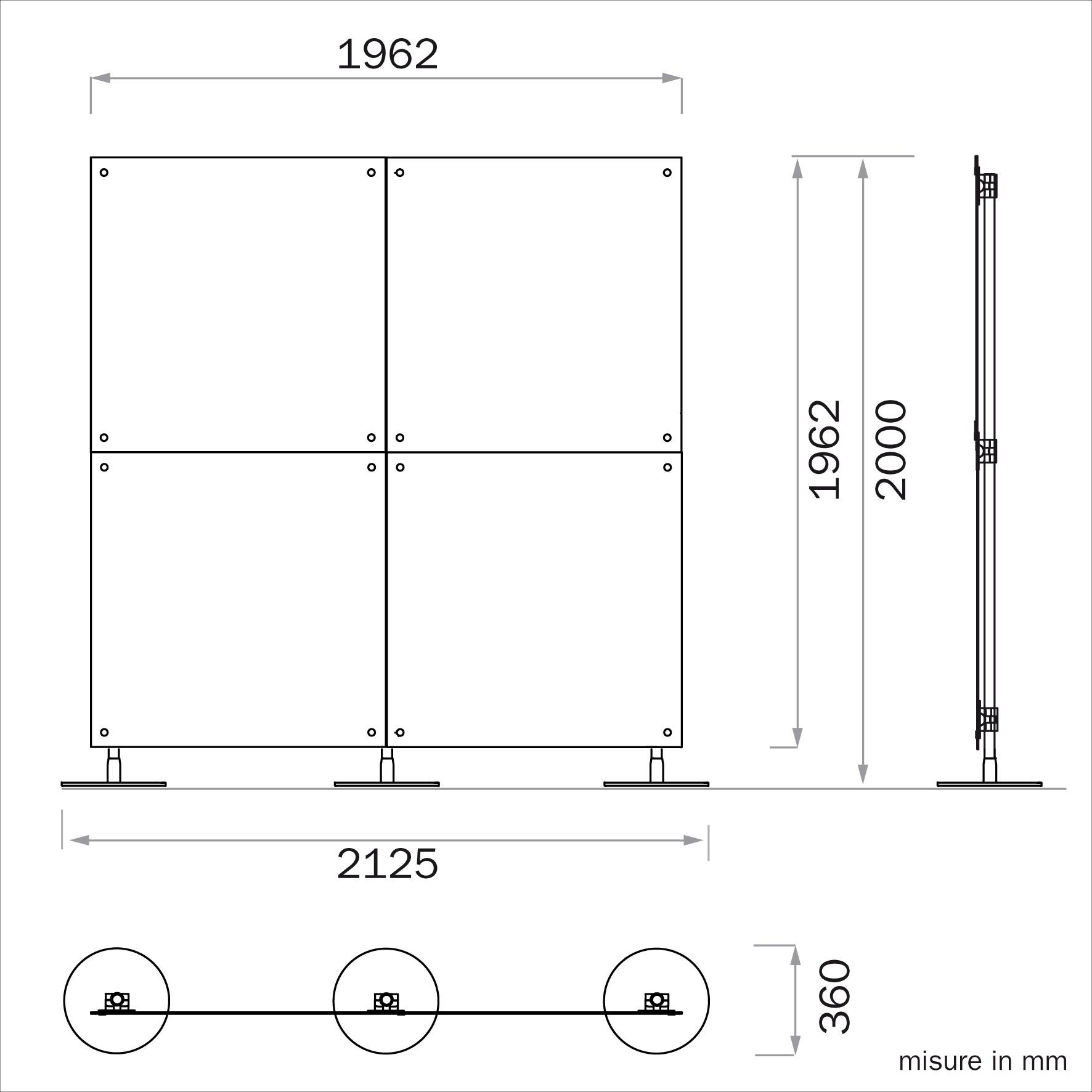 pannelli divisori per interni
