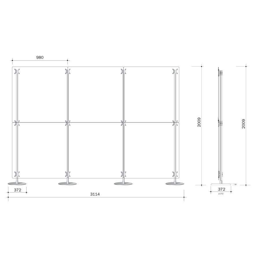 parete divisoria 300x200 costituita da 6 pannelli