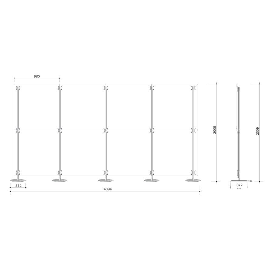 parete divisoria 400x200 costituita da 8 pannelli