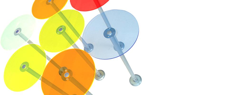mensole circolari colorate per arredo negozi