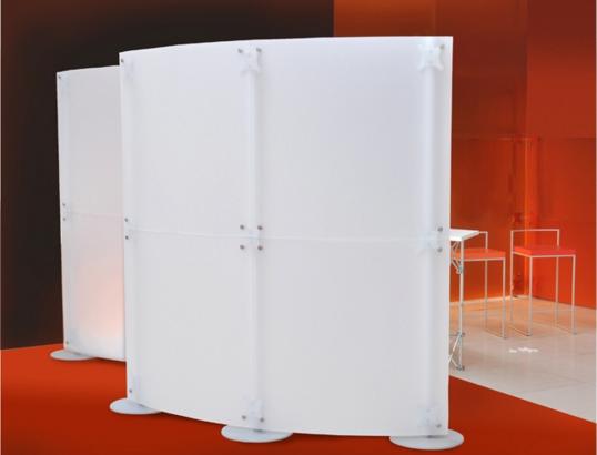 pareti divisorie modulari in plexiglass curve per bar e ristoranti