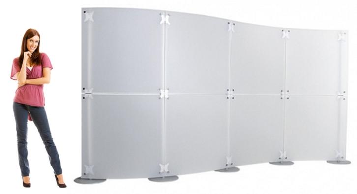 pareti divisorie modulari curve in plexiglass