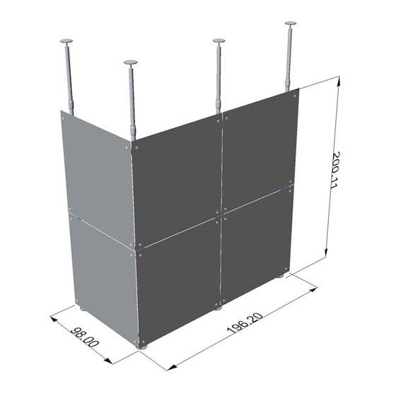 pareti fisse con montanti telescopici